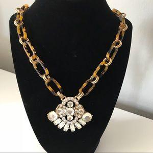 J Crew tortoise link & crystal pendant necklace